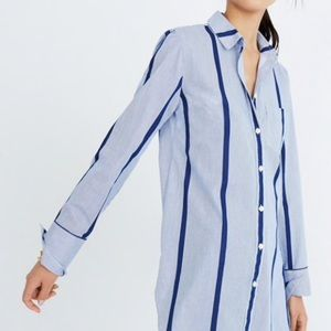 Madewell Striped Button Down Tunic Shirt